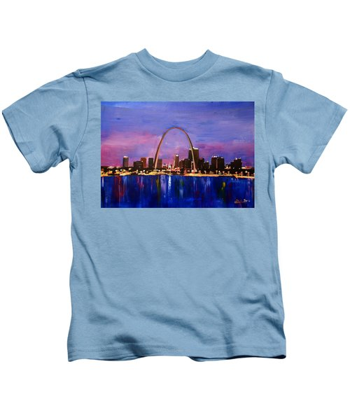 St. Louis Gateway Arch At Sunset Kids T-Shirt