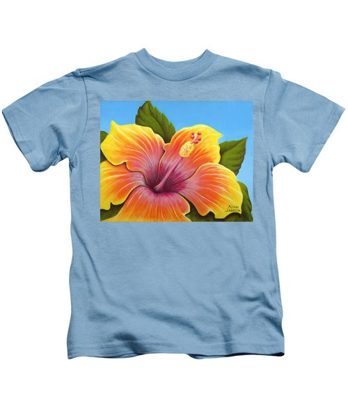 Sunburst Hibiscus Kids T-Shirt