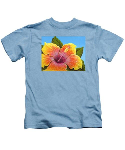 Sunburst Hibiscus Kids T-Shirt