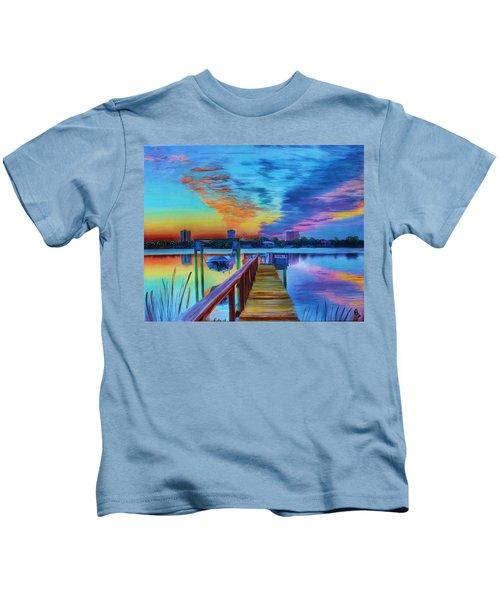 Sunrise On The Dock Kids T-Shirt