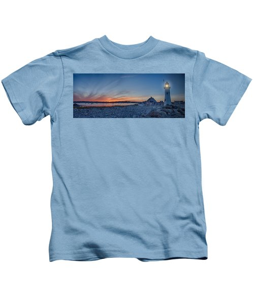 Sunset At Scituate Light Kids T-Shirt