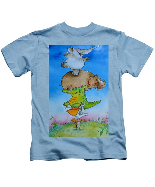 Super Mouse Pen & Ink And Wc On Paper Kids T-Shirt by Maylee Christie