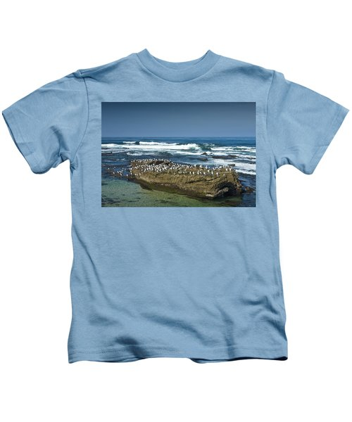 Surf Waves At La Jolla California With Gulls Perched On A Large Rock No. 0194 Kids T-Shirt