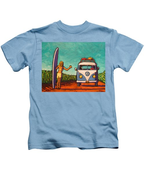 Surfer Girl And Vw Bus Kids T-Shirt