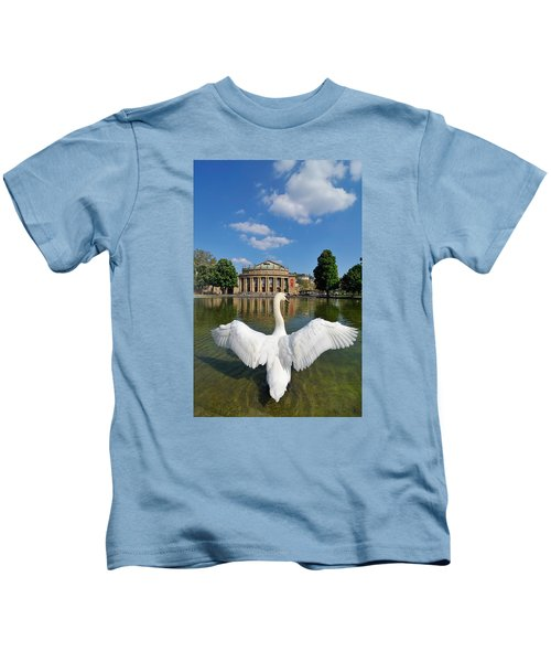 Swan Spreads Wings In Front Of State Theatre Stuttgart Germany Kids T-Shirt