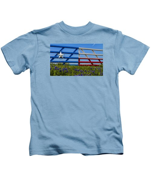 Texas Flag Painted Gate With Blue Bonnets Kids T-Shirt