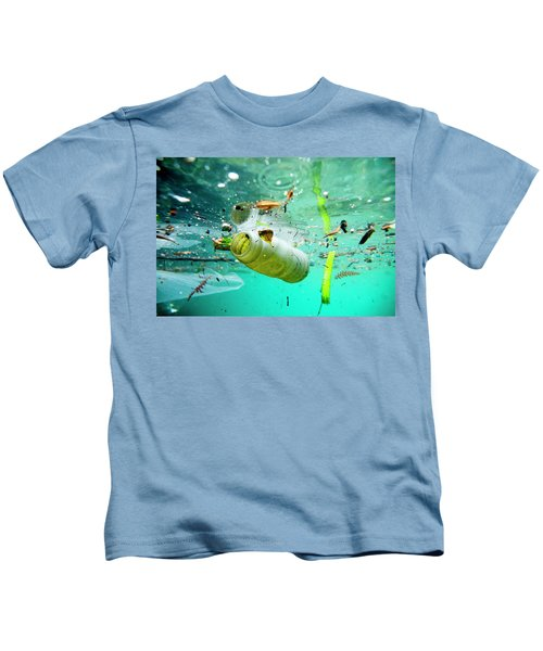 Trash Floating On The Marseille Shore Kids T-Shirt