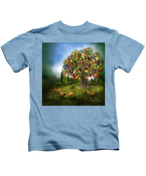 Tree Of Abundance Kids T-Shirt by Carol Cavalaris