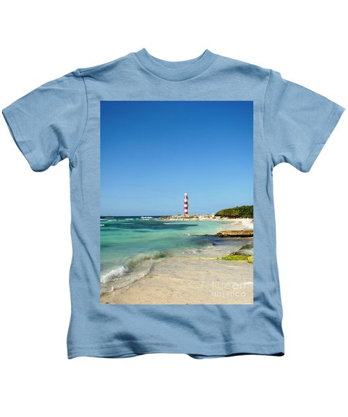 Tropical Seascape With Lighthouse Kids T-Shirt