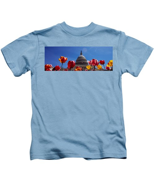 Tulips With A Government Building Kids T-Shirt by Panoramic Images