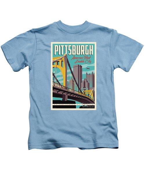 Pittsburgh Poster - Vintage Travel Bridges Kids T-Shirt