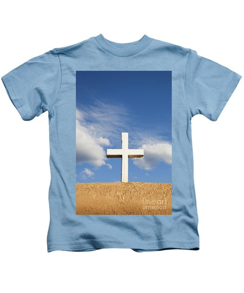 White Cross On Adobe Wall Kids T-Shirt