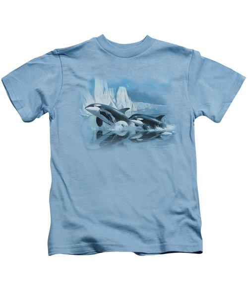 Wildlife - Glaciers Edge Orcas Kids T-Shirt