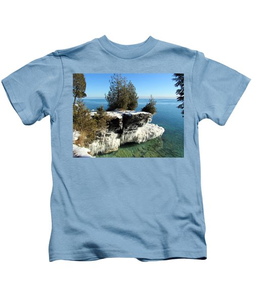 Winter At Cave Point Kids T-Shirt