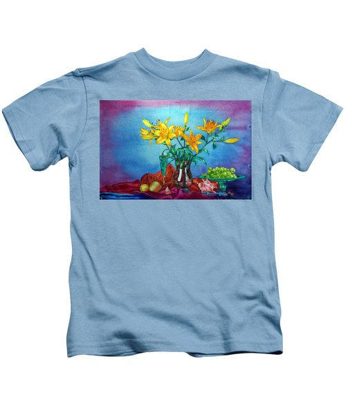 Yellow Lily In A Vase Kids T-Shirt