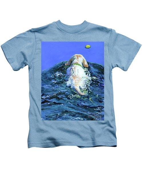 Yellow Lab  Blue Wake Kids T-Shirt