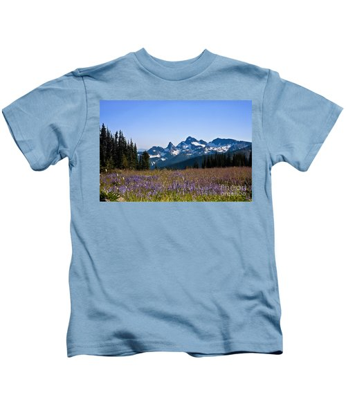 Wildflowers In The Cascades Kids T-Shirt