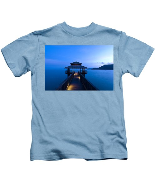 Building At The End Of A Jetty During Twilight Kids T-Shirt