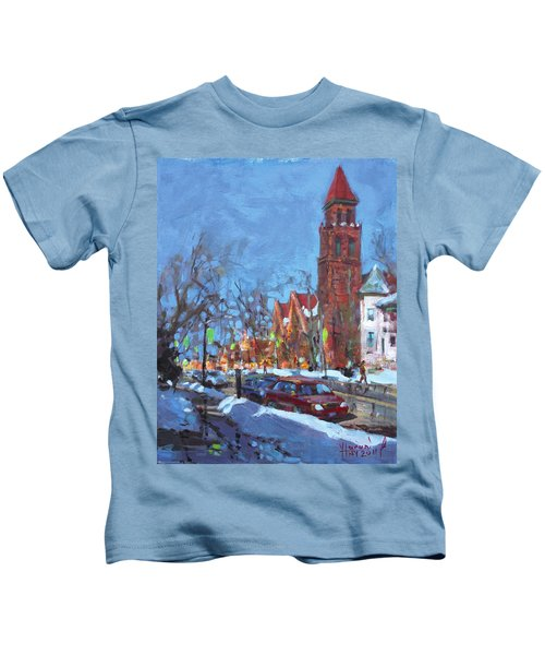 Cold Morning In Elmwood Ave  Kids T-Shirt