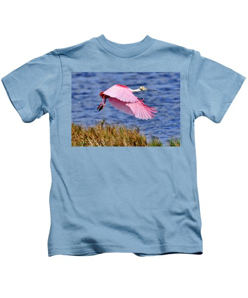 Flight A Roseate Spoonbill Kids T-Shirt