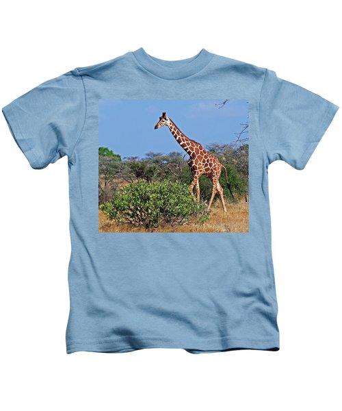 Giraffe Against Blue Sky Kids T-Shirt