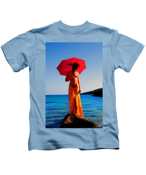 Girl With Red Umbrella Kids T-Shirt