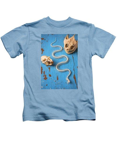 Snake Skeleton And Animal Skulls Kids T-Shirt