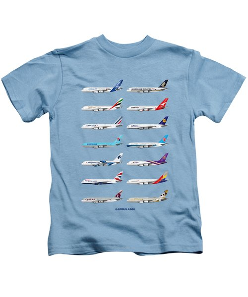 Airbus A380 Operators Illustration - Blue Version Kids T-Shirt