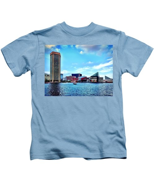 Kids T-Shirt featuring the photograph Baltimore's Inner Harbor by Chris Montcalmo