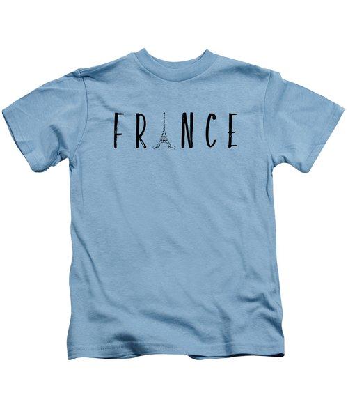 France Typography Panoramic Kids T-Shirt