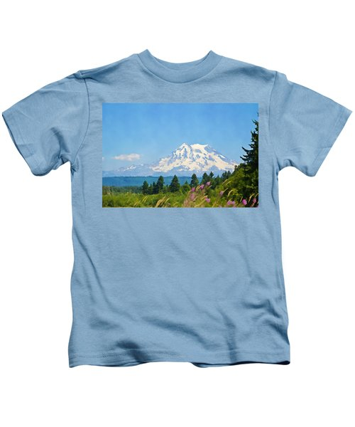 Mount Rainier Watercolor Kids T-Shirt