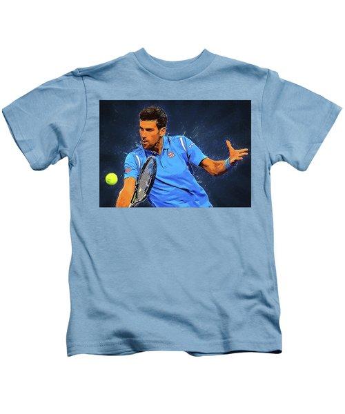 Novak Djokovic Kids T-Shirt by Semih Yurdabak