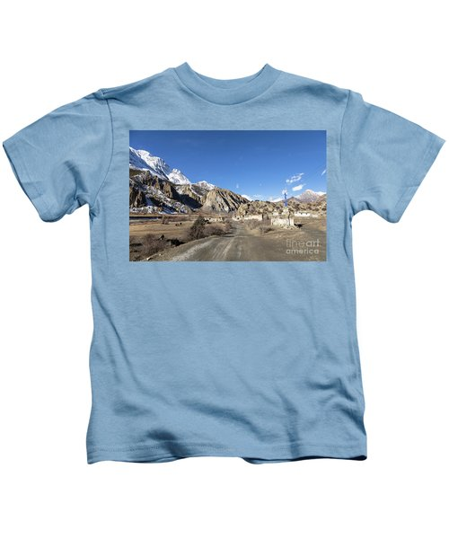 On The Annapurna Circuit Trekking Near Manang In Nepal Kids T-Shirt