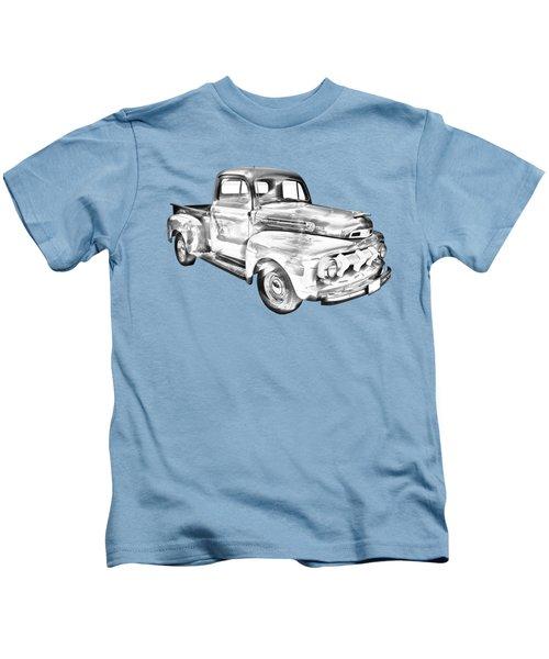 1951 Ford F-1 Pickup Truck Illustration Kids T-Shirt
