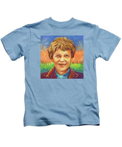 Amelia Earhart Portrait Kids T-Shirt