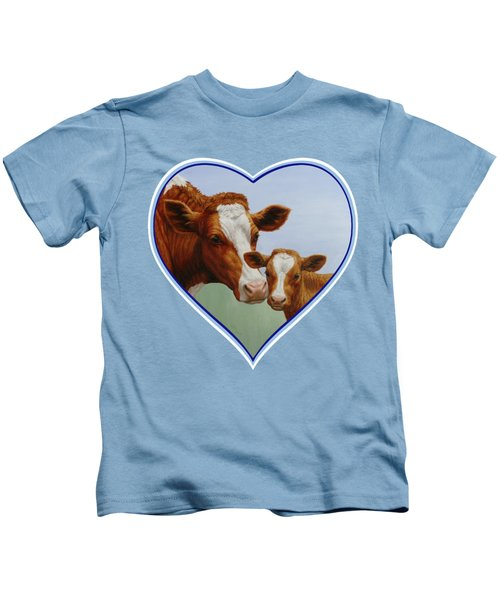 Cow And Calf Blue Heart Kids T-Shirt