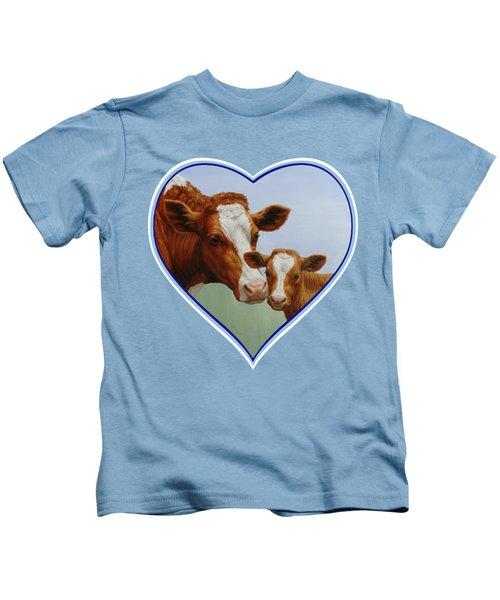 Cow And Calf Blue Heart Kids T-Shirt