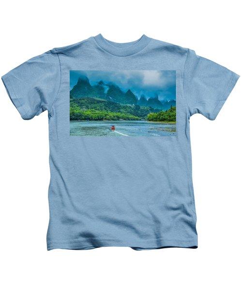 Karst Mountains And Lijiang River Scenery Kids T-Shirt