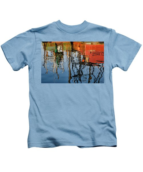 Abstract Boat Reflections Iv Kids T-Shirt