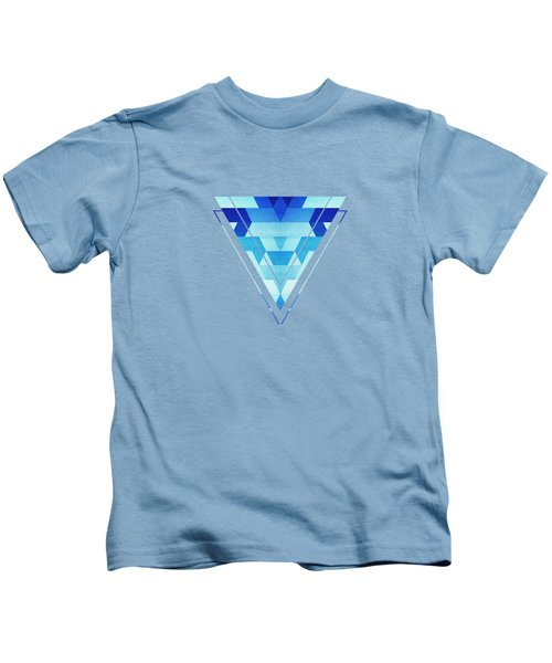 Abstract Geometric Triangle Pattern Futuristic Future Symmetry In Ice Blue Kids T-Shirt