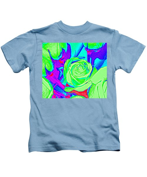 Abstract Green Roses Kids T-Shirt