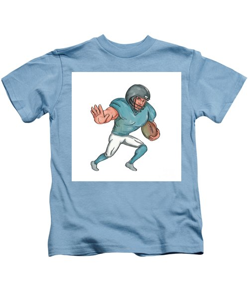American Football Player Stiff Arm  Caricature Kids T-Shirt