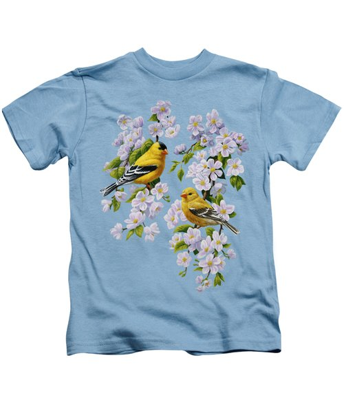 American Goldfinch Spring Kids T-Shirt by Crista Forest