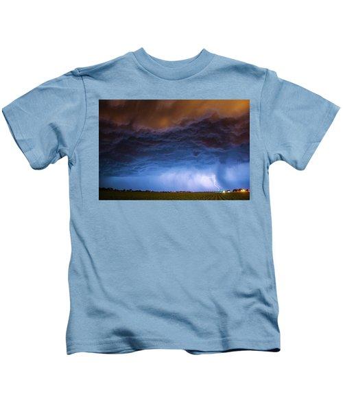 Another Impressive Nebraska Night Thunderstorm 008/ Kids T-Shirt