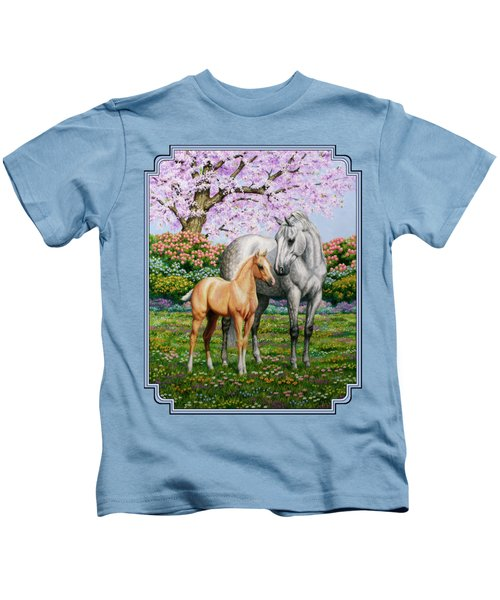 Spring's Gift - Mare And Foal Kids T-Shirt by Crista Forest