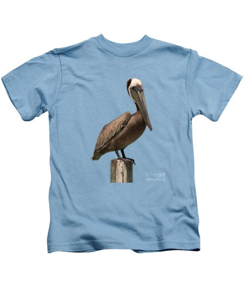 Pelican Perched On A Piling Kids T-Shirt by John Harmon