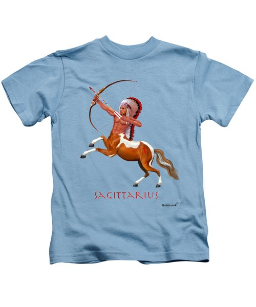 Native American Sagittarius Kids T-Shirt by Glenn Holbrook