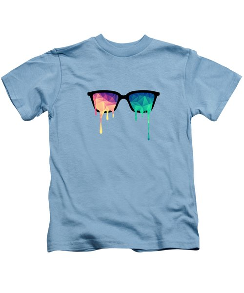 Psychedelic Nerd Glasses With Melting Lsd Trippy Color Triangles Kids T-Shirt by Philipp Rietz
