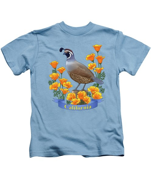 California Quail And Golden Poppies Kids T-Shirt by Crista Forest