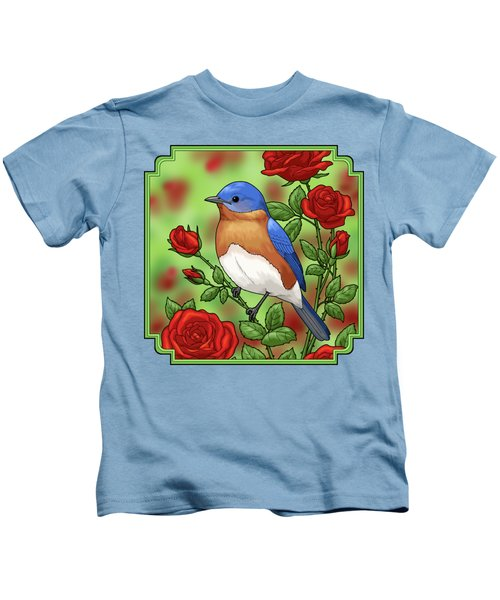 New York State Bluebird And Rose Kids T-Shirt